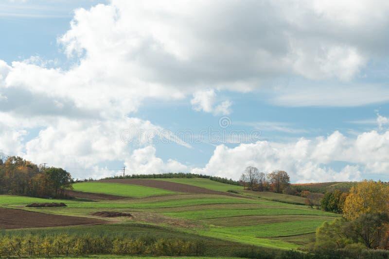 Las colinas verdes rodantes se nublan paisaje con el sitio de la copia foto de archivo libre de regalías