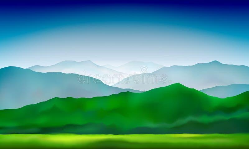 Las colinas y los prados verdes de las montañas ajardinan Fondo abstracto de la naturaleza, paisaje de la montaña Fondo colorido  stock de ilustración