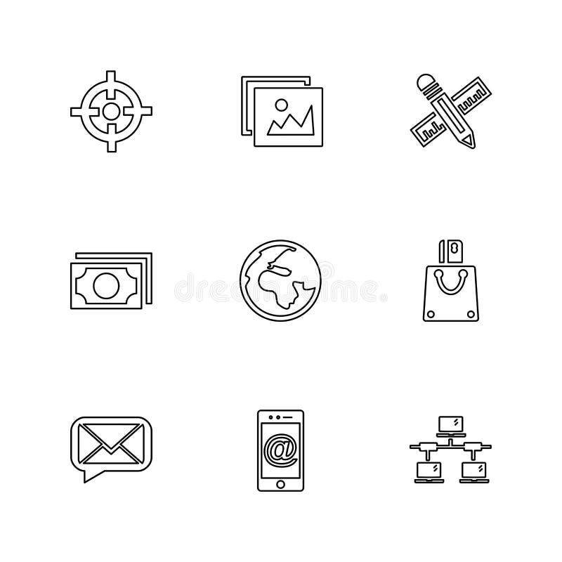 las compras, dinero, banco, dólar, factura, iconos del EPS fijaron vecto ilustración del vector