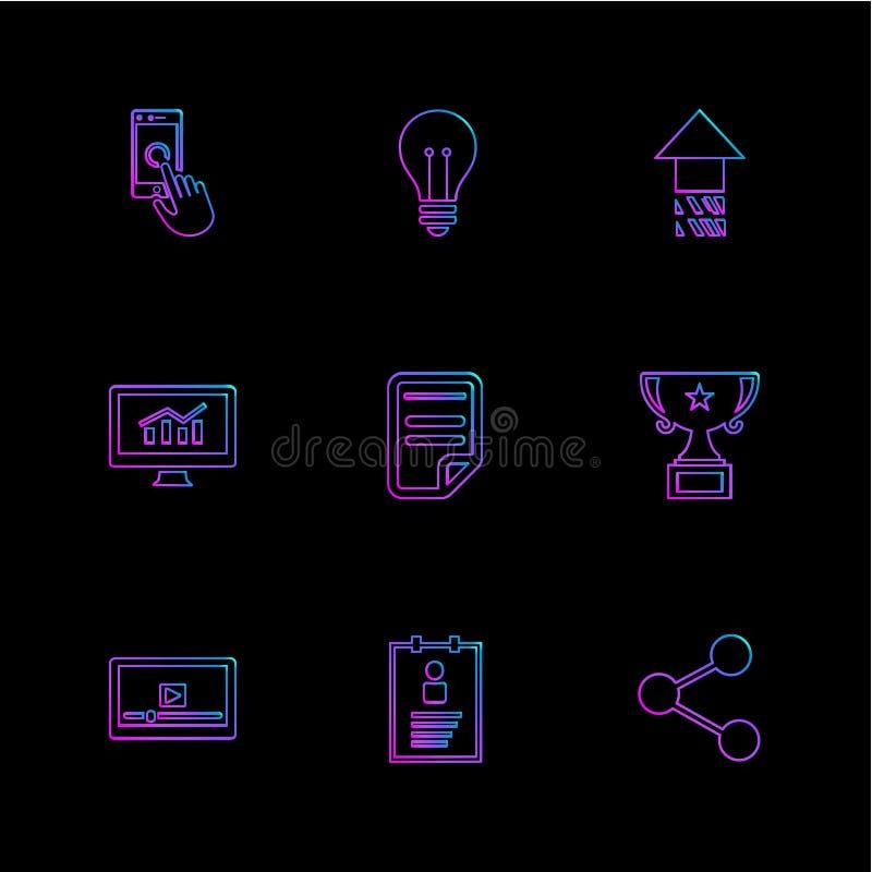 las compras, dinero, banco, dólar, factura, iconos del EPS fijaron vecto stock de ilustración
