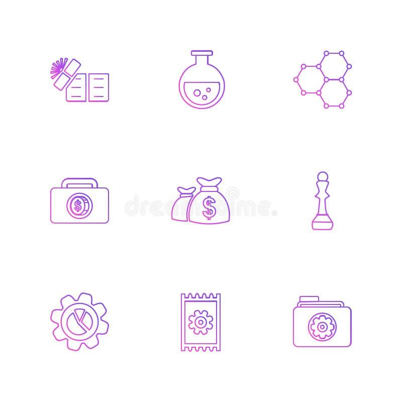 las compras, dinero, banco, dólar, factura, iconos del EPS fijaron vecto libre illustration