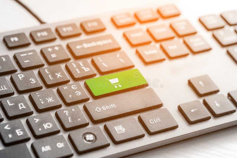 Las compras incorporan llave del botón en el teclado gris imágenes de archivo libres de regalías