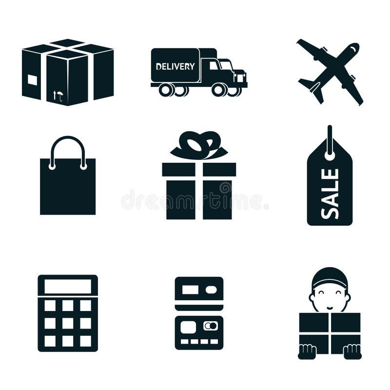 Las compras y el envío aislaron los iconos fijados ilustración del vector