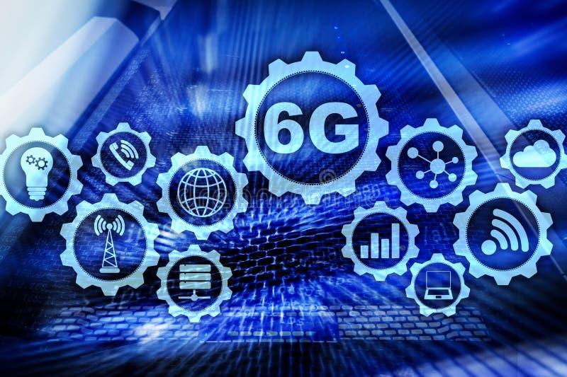 Las comunicaciones futuras ayunan tecnología concepto de la conexión de red 6G Tecnología inalámbrica móvil de alta velocidad stock de ilustración