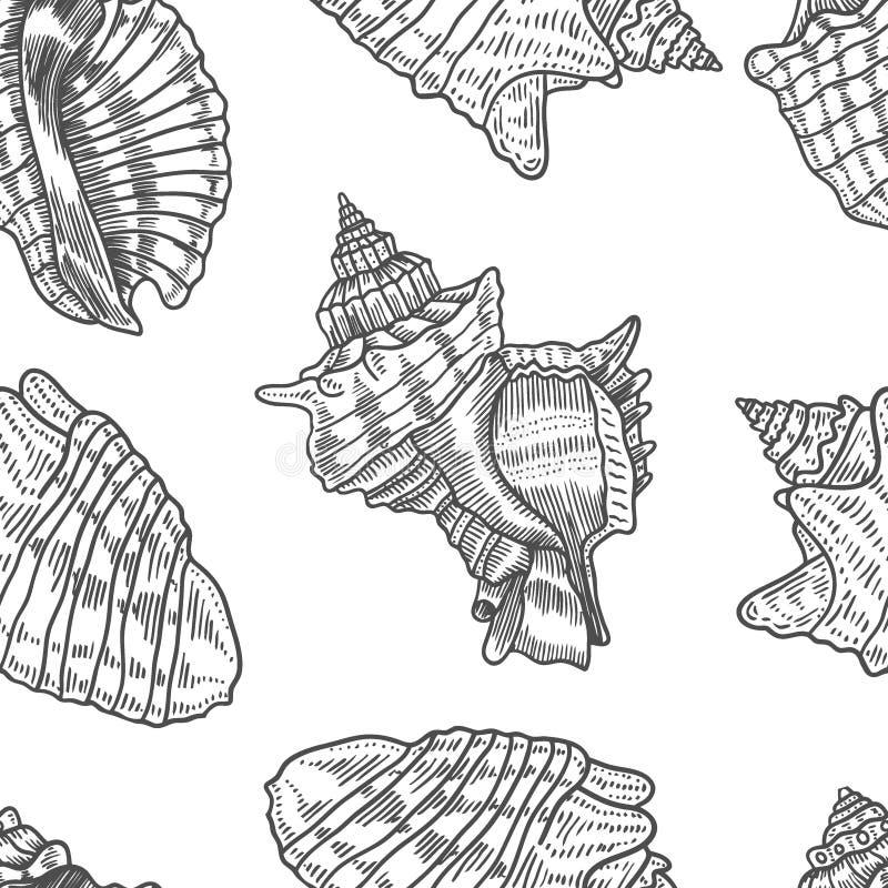Las conchas marinas vector el modelo inconsútil libre illustration