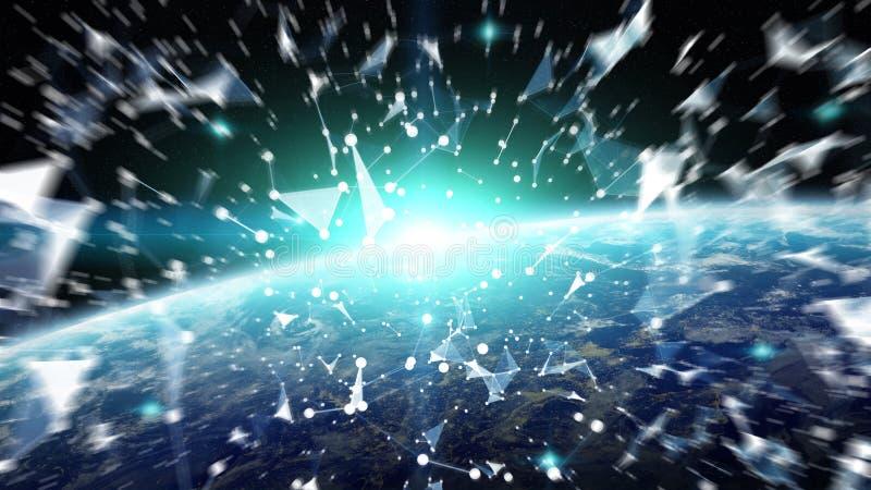 Las conexiones sistema y los intercambios de datos en la tierra 3D del planeta rinden ilustración del vector