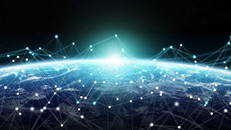 Las conexiones sistema y los intercambios de datos en la tierra 3D del planeta rinden libre illustration
