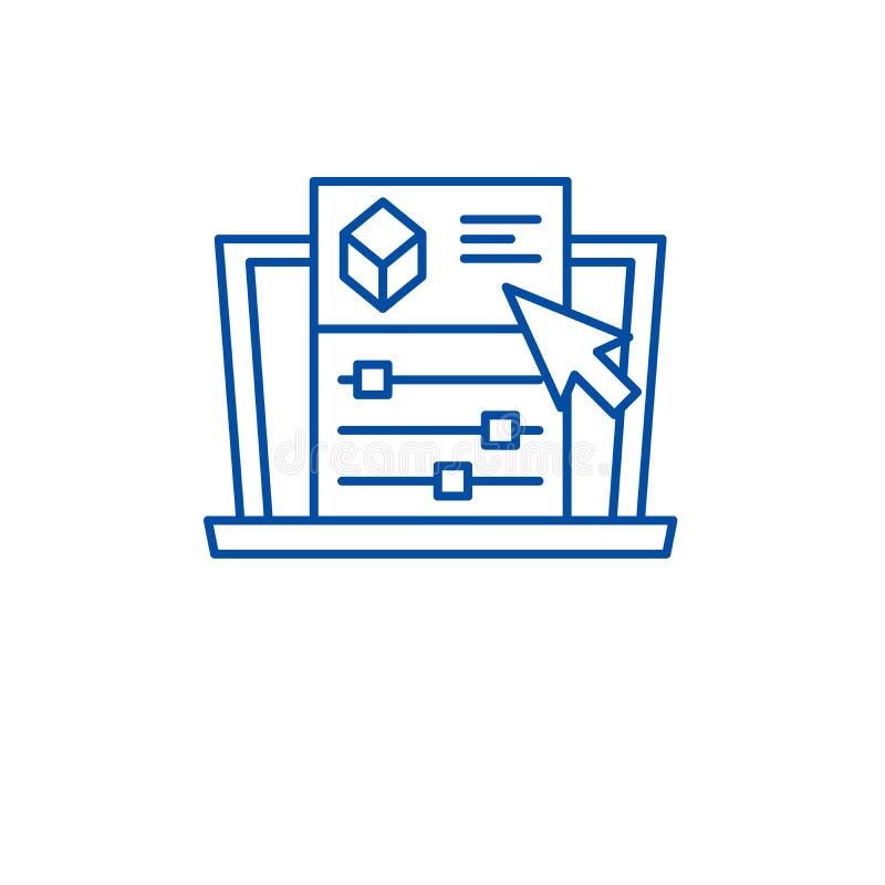Las configuraciones del proyecto alinean concepto del icono Símbolo plano del vector de las configuraciones del proyecto, muestra stock de ilustración