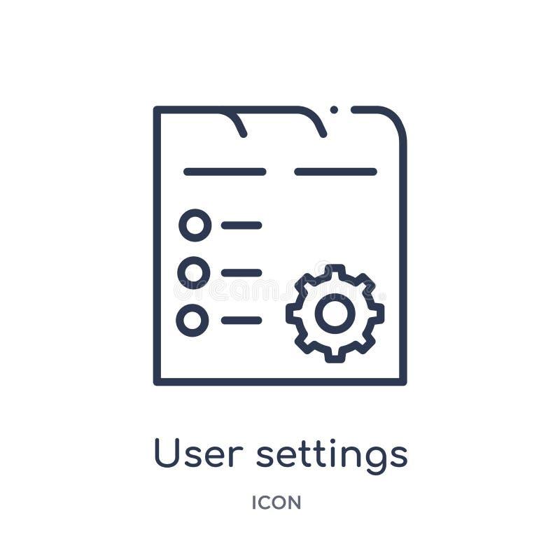 las configuraciones del usuario interconectan el icono de la colección del esquema de la interfaz de usuario La línea fina config stock de ilustración