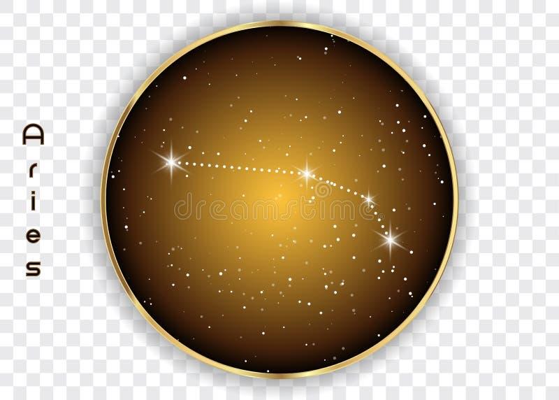 Las constelaciones del zodiaco del aries firman en el cielo estrellado hermoso con la galaxia y el espacio detrás Constelación de stock de ilustración
