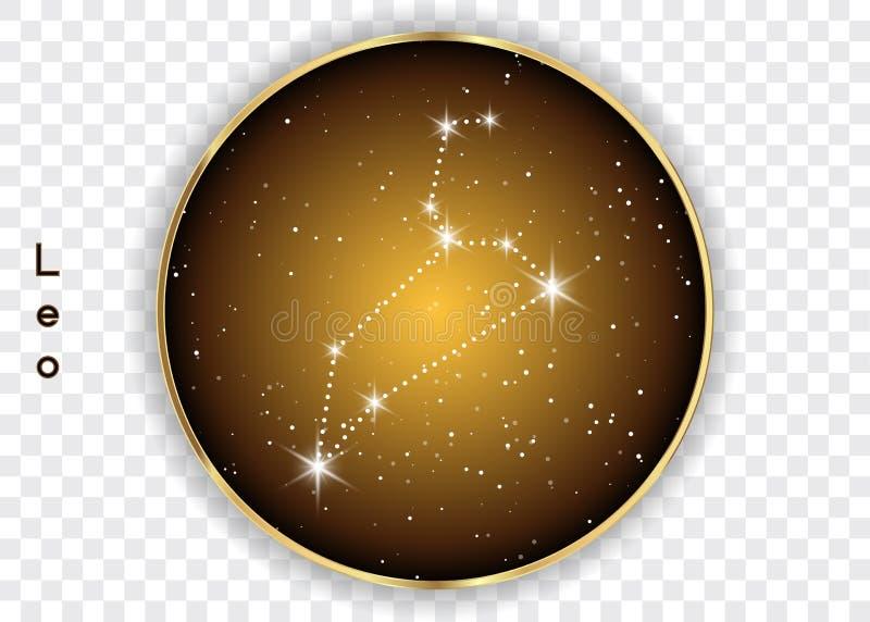 Las constelaciones del zodiaco de Leo firman en el cielo estrellado hermoso con la galaxia y el espacio detrás Constelación del s ilustración del vector