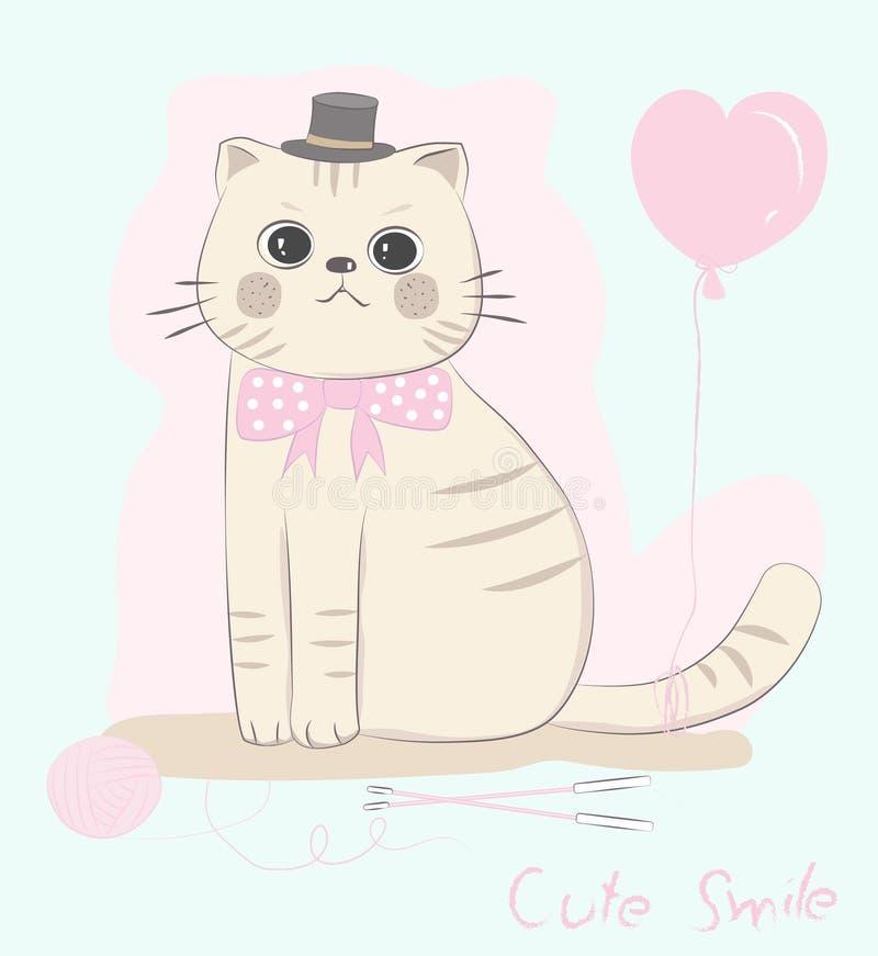 Las corbatas de lazo lindas del gato del bebé con el globo forman el corazón rosado Mano drenada stock de ilustración