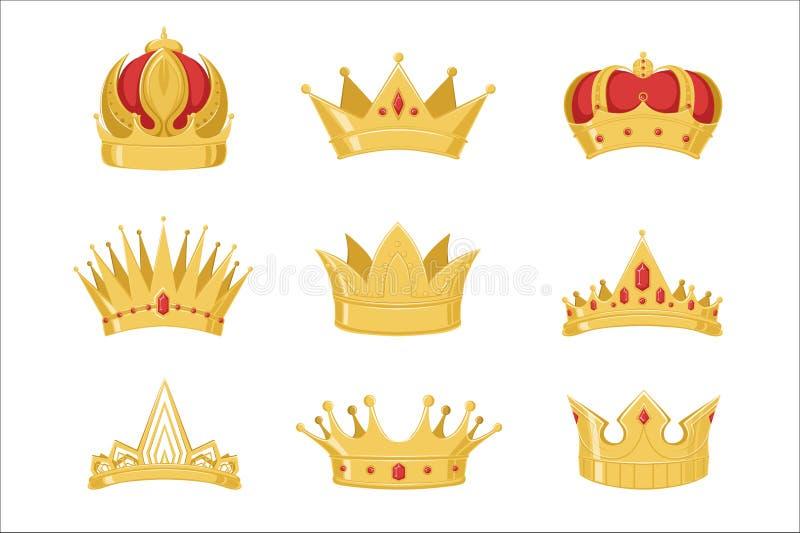 Las coronas de oro reales fijaron, los símbolos del poder del rey y los ejemplos del vector de la reina ilustración del vector
