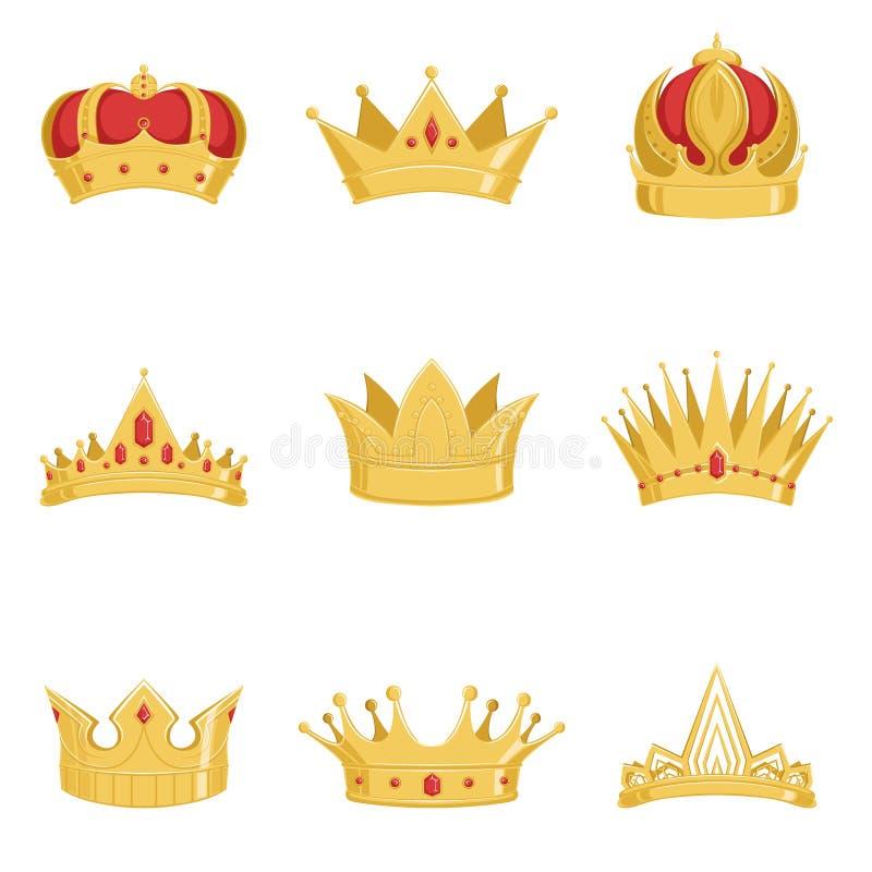 Las coronas de oro reales fijaron, los símbolos del poder del rey y los ejemplos del vector de la reina libre illustration