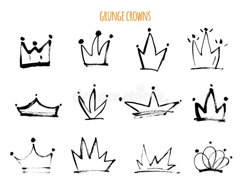 Las coronas dibujadas mano del Grunge aislaron iconos negros Ejemplo del vector de Strokke para el diseño moderno stock de ilustración