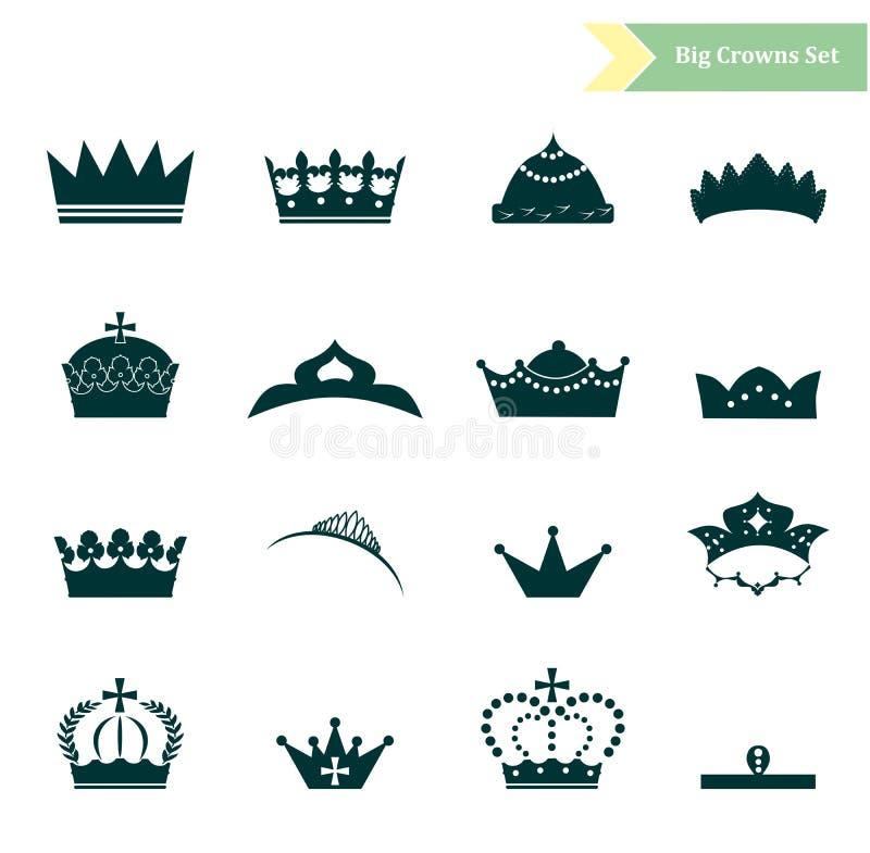 Las coronas fijadas stock de ilustración