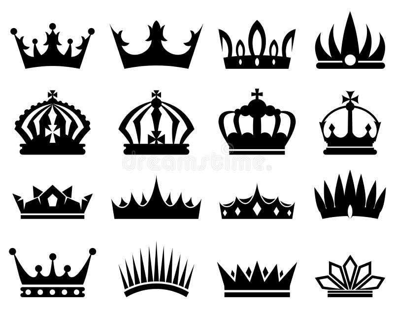 Las coronas siluetean el sistema stock de ilustración