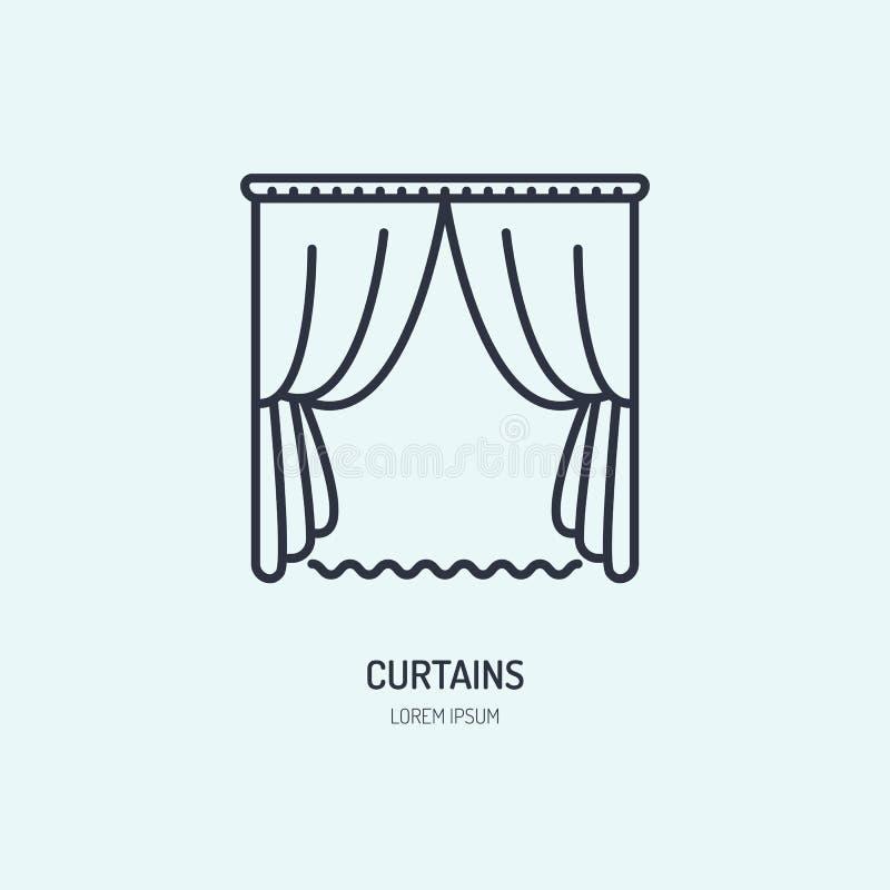 Las cortinas alinean el icono, logotipo casero de la limpieza de la materia textil Muestra plana de la tienda de la persiana, eje stock de ilustración