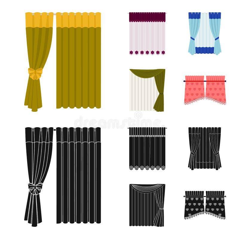 Las cortinas, cubren, las ligas, y el otro icono del web en la historieta, estilo negro Materias textiles, muebles, iconos del ar stock de ilustración
