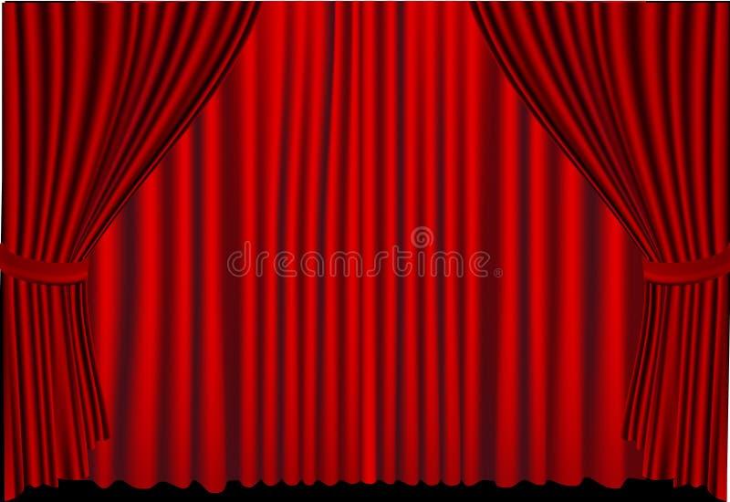 Las cortinas rojas se cerraron stock de ilustración