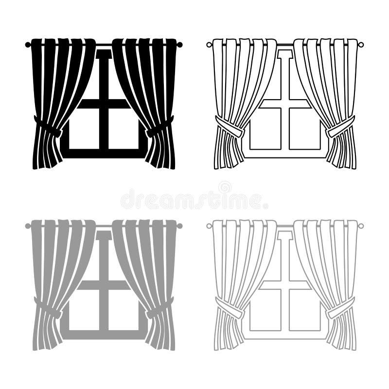 Las cortinas y las cortinas que agitaban del concepto de la ventana de la ventana de la decoración casera interior de la opinión  ilustración del vector