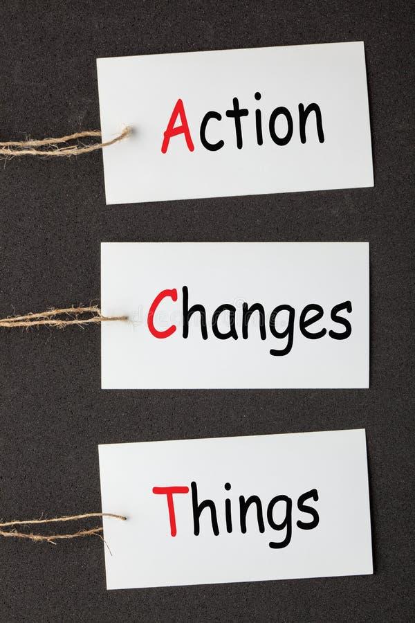 Las cosas de los cambios de la acción ACTÚAN foto de archivo libre de regalías