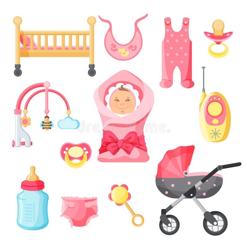 Las cosas recién nacidas de la muchacha vector el cartel con el fondo blanco libre illustration