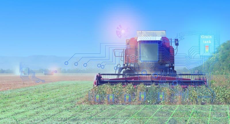 Las cosechadoras cosechan, representación conceptual de la interacción de la tecnología al cosechar con la ayuda de la comunicaci