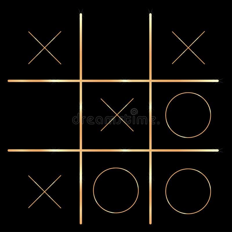 las cruces y el juego de los ceros realizaron diseño de oro stock de ilustración