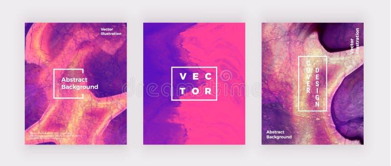 Las cubiertas de mármol líquidas diseñan Rosa, arte flúido creativo púrpura Fondo moderno para la invitación, boda, cartel, cumpl ilustración del vector