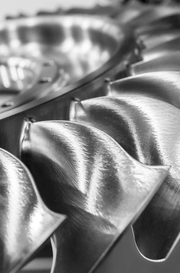 Las cuchillas de la rueda de turbina, tiro del primer foto de archivo