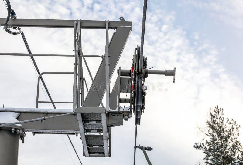 Las cuerdas de acero sobre ruedan en mecanismo encima del pilar de la ayuda de la elevación de silla del esquí, fondo brillante d fotografía de archivo libre de regalías