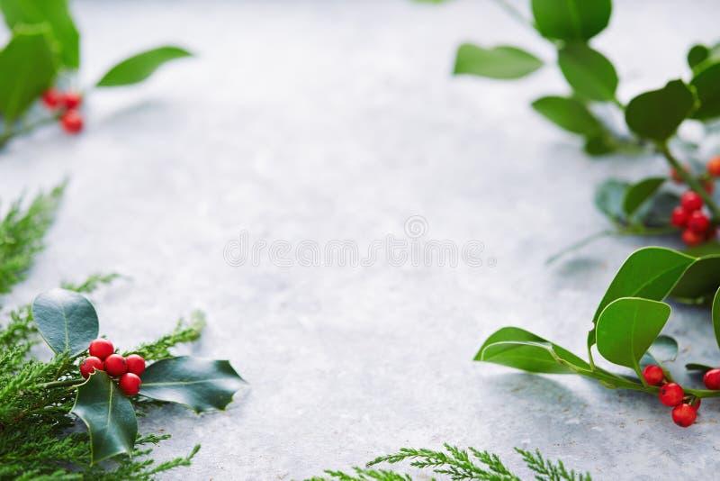 Las decoraciones de la Navidad, acebo se van con las bayas rojas imágenes de archivo libres de regalías