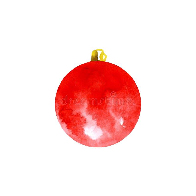 Las decoraciones de la Navidad en el árbol de navidad de las manchas de la acuarela borran Bolas rojas de la Navidad de la acuare fotos de archivo