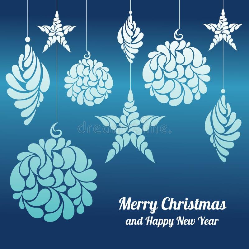 Las decoraciones de la Navidad protagonizan, un diamante de la bola en un fondo azul ilustración del vector