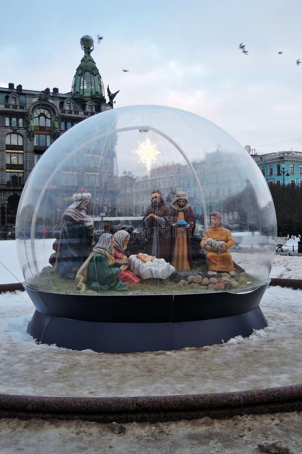 Las decoraciones de la Navidad y del Año Nuevo 2018 en el Kazán ajustan en St Petersburg foto de archivo