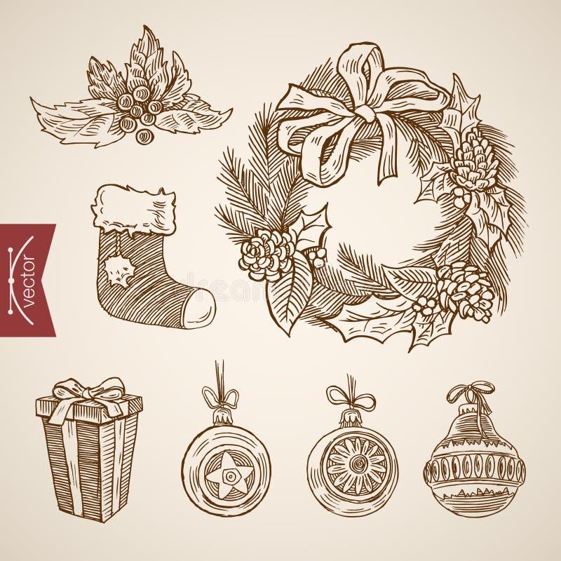 Las decoraciones del Año Nuevo de la Navidad pegan vector retro handdrawn del regalo stock de ilustración