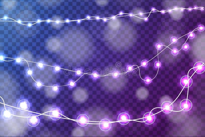 Las decoraciones realistas de las luces de la Navidad fijaron aislado en fondo azul y púrpura transparente stock de ilustración