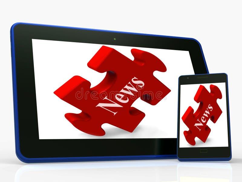 Las demostraciones de la tableta de las noticias leen o miran las últimas actualizaciones en el web ilustración del vector