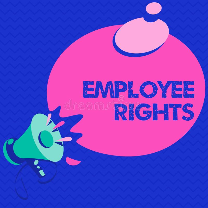 Las derechas del empleado del texto de la escritura de la palabra El concepto del negocio para todos los empleados tiene derechos stock de ilustración