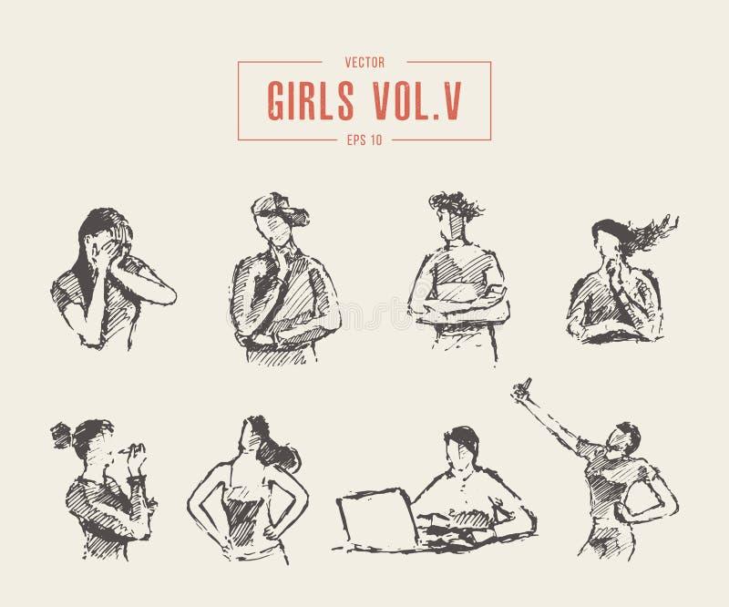 Las diversas emociones fijadas de los adolescentes plantean vector libre illustration