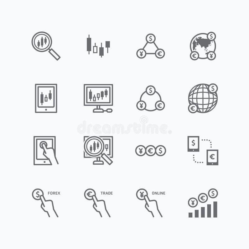 Las divisas vector los iconos planos fijados del comercio en línea de las finanzas del negocio ilustración del vector