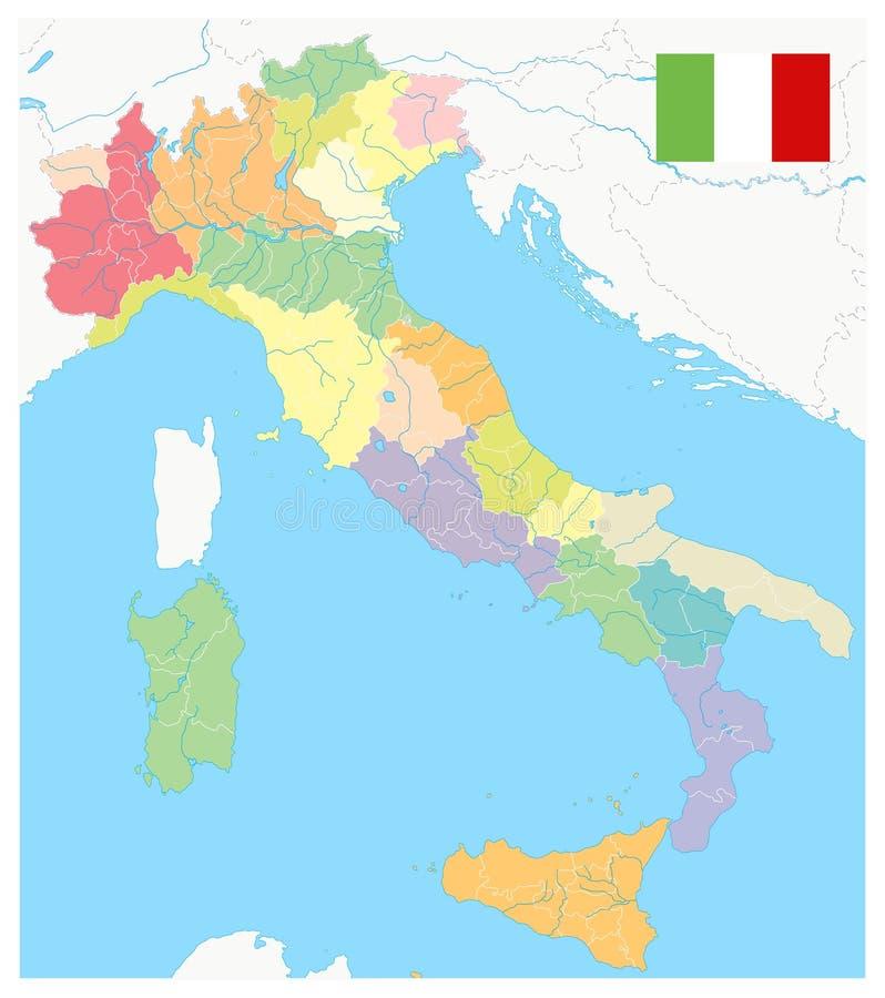 Las divisiones administrativas de Italia no trazan - ningún texto stock de ilustración