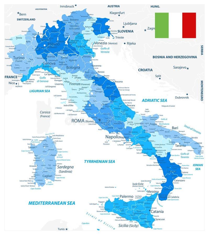 Las divisiones administrativas de Italia trazan colores azules ilustración del vector