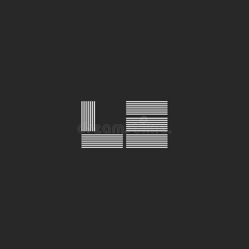 Las dos letras lineares que tejen L y monograma del logotipo de E, las iniciales LE o EL marcan junta líneas paralelas bloquea la ilustración del vector