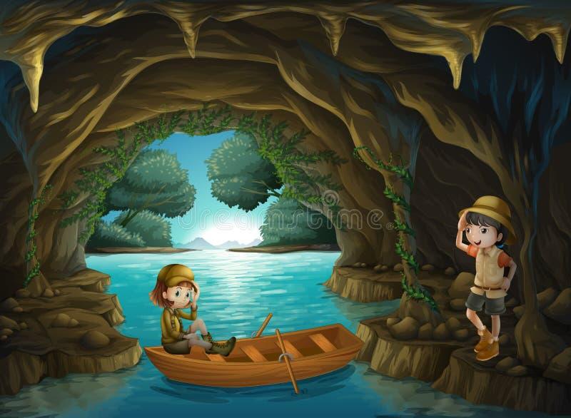 Las dos muchachas valientes en la cueva ilustración del vector
