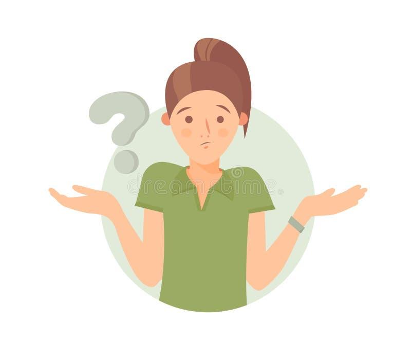 Las dudas bonitas de la muchacha de la historieta, piensan por qué Mujer con el signo de interrogación Ilustración del vector libre illustration