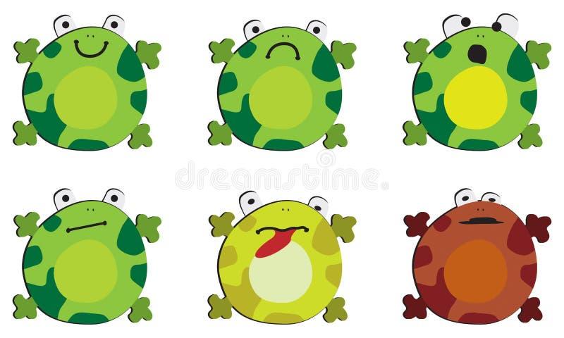 Las emociones de la rana en el fondo blanco libre illustration