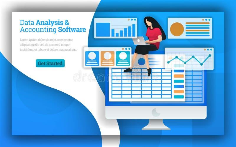 Las empresas de contabilidad proporcionan servicios del análisis de datos y de los programas informáticos de contabilidad, contab ilustración del vector