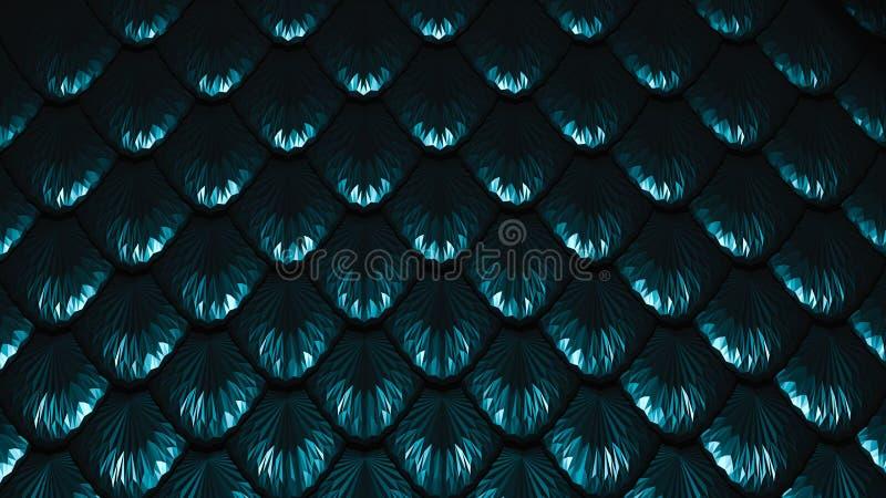 Las escalas azul marino texturizaron el ejemplo del fondo 3D ilustración del vector